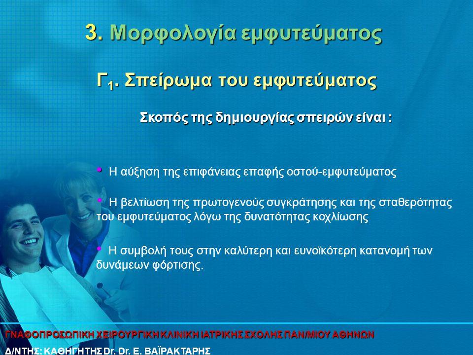 3. Μορφολογία εμφυτεύματος Γ 1. Σπείρωμα του εμφυτεύματος • • Η αύξηση της επιφάνειας επαφής οστού-εμφυτεύματος Σκοπός της δημιουργίας σπειρών είναι :