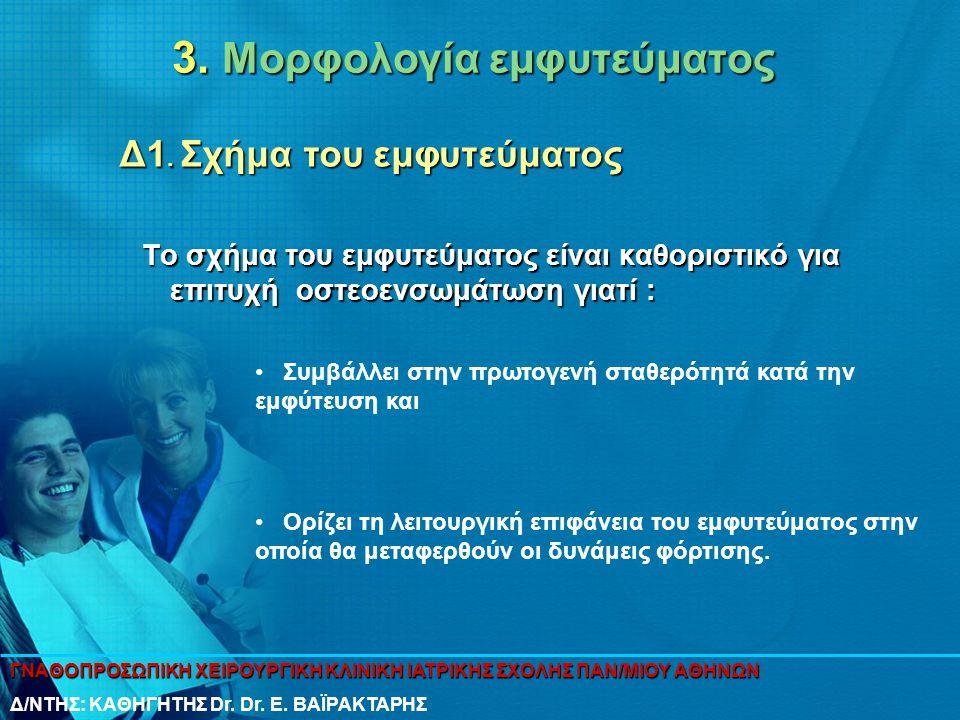 3. Μορφολογία εμφυτεύματος Το σχήμα του εμφυτεύματος είναι καθοριστικό για επιτυχή οστεοενσωμάτωση γιατί : • Συμβάλλει στην πρωτογενή σταθερότητά κατά