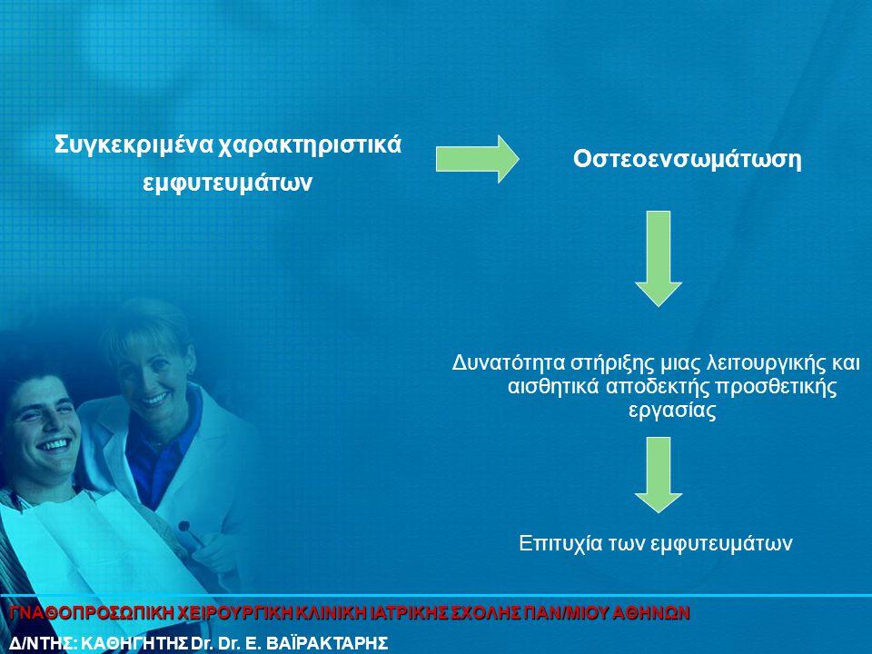 Συγκεκριμένα χαρακτηριστικά εμφυτευμάτων Οστεοενσωμάτωση Δυνατότητα στήριξης μιας λειτουργικής και αισθητικά αποδεκτής προσθετικής εργασίας Επιτυχία τ