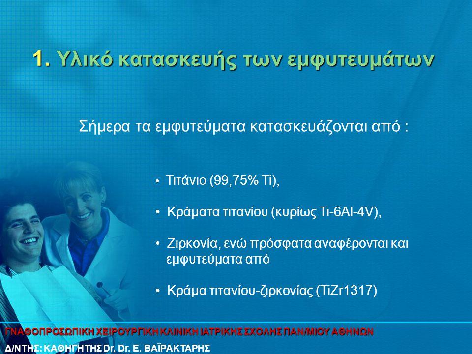 1. Υλικό κατασκευής των εμφυτευμάτων Σήμερα τα εμφυτεύματα κατασκευάζονται από : • Τιτάνιο (99,75% Ti), • Kράματα τιτανίου (κυρίως Ti-6Al-4V), • Ζιρκο