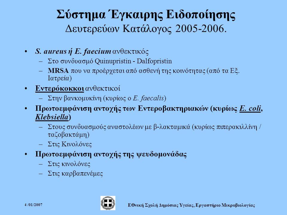 4 /01/2007 ΕΘνική Σχολή Δημόσιας Υγείας, Εργαστήριο Μικροβιολογίας Σύστημα Έγκαιρης Ειδοποίησης Δευτερεύων Κατάλογος 2005-2006.