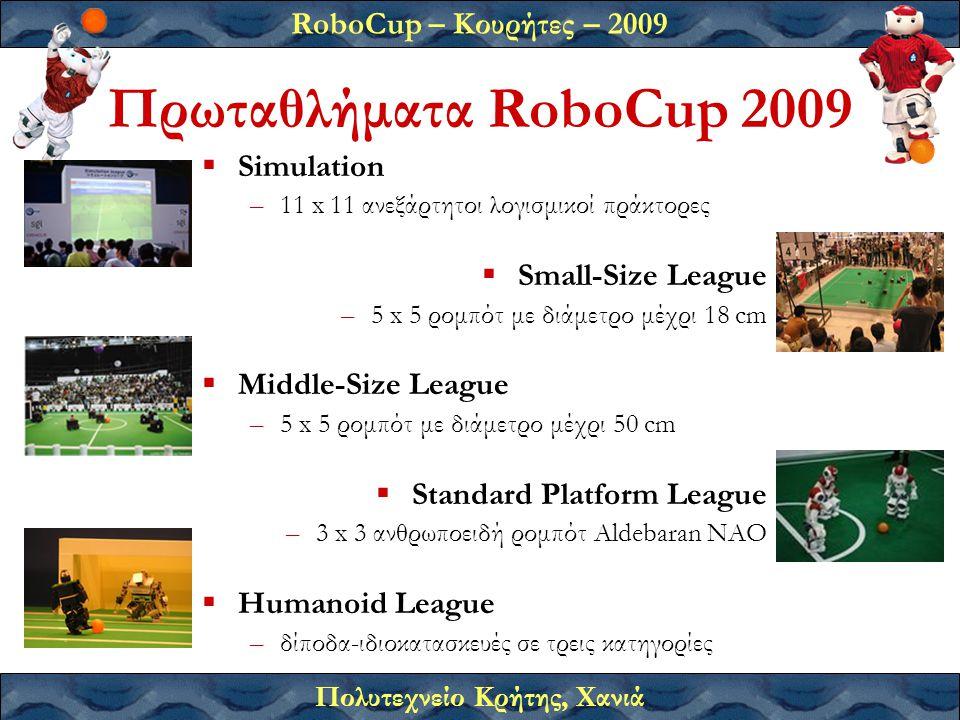 RoboCup – Κουρήτες – 2009 Πολυτεχνείο Κρήτης, Χανιά Πρωταθλήματα RoboCup 2009  Simulation –11 x 11 ανεξάρτητοι λογισμικοί πράκτορες  Small-Size League –5 x 5 ρομπότ με διάμετρο μέχρι 18 cm  Middle-Size League –5 x 5 ρομπότ με διάμετρο μέχρι 50 cm  Standard Platform League –3 x 3 ανθρωποειδή ρομπότ Aldebaran ΝΑΟ  Humanoid League –δίποδα-ιδιοκατασκευές σε τρεις κατηγορίες