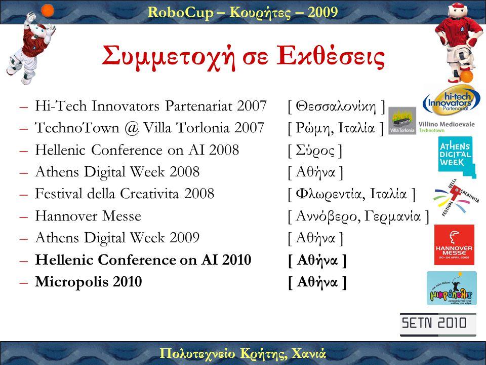 RoboCup – Κουρήτες – 2009 Πολυτεχνείο Κρήτης, Χανιά –Hi-Tech Innovators Partenariat 2007[ Θεσσαλονίκη ] –TechnoTown @ Villa Torlonia 2007[ Ρώμη, Ιταλία ] –Hellenic Conference on AI 2008[ Σύρος ] –Athens Digital Week 2008[ Αθήνα ] –Festival della Creativita 2008[ Φλωρεντία, Ιταλία ] –Hannover Messe[ Αννόβερο, Γερμανία ] –Athens Digital Week 2009[ Αθήνα ] –Hellenic Conference on AI 2010[ Αθήνα ] –Micropolis 2010[ Αθήνα ] Συμμετοχή σε Εκθέσεις