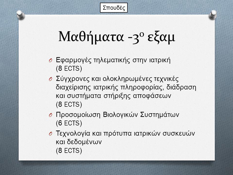 Μαθήματα -3 ο εξαμ O Εφαρμογές τηλεματικής στην ιατρική (8 ECTS) O Σύγχρονες και ολοκληρωμένες τεχνικές διαχείρισης ιατρικής πληροφορίας, διάδραση και