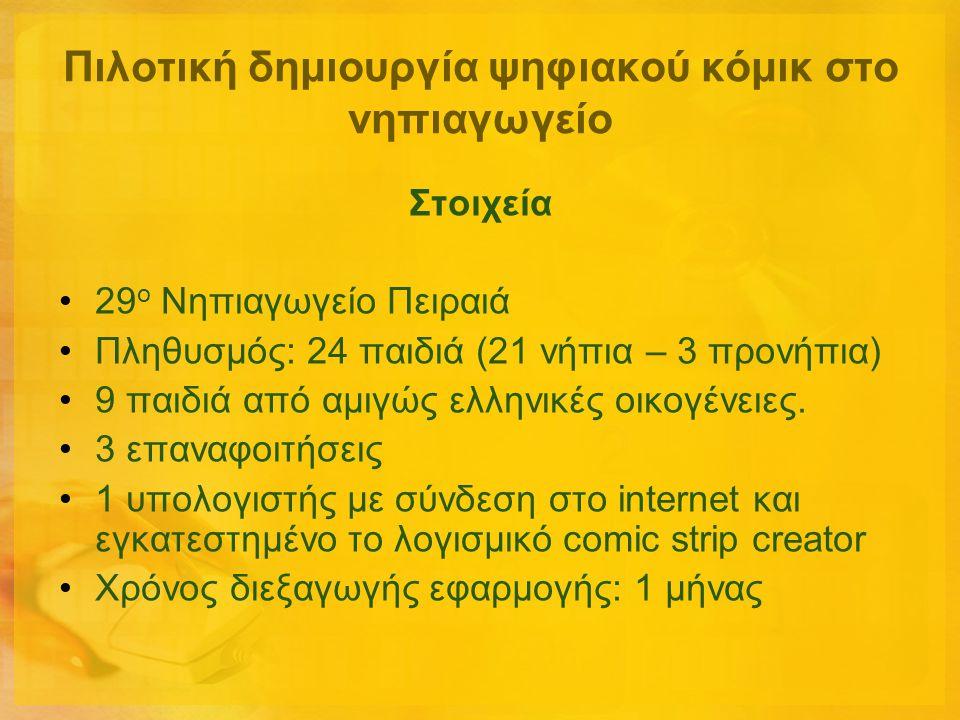 Πιλοτική δημιουργία ψηφιακού κόμικ στο νηπιαγωγείο Στοιχεία •29 ο Νηπιαγωγείο Πειραιά •Πληθυσμός: 24 παιδιά (21 νήπια – 3 προνήπια) •9 παιδιά από αμιγ