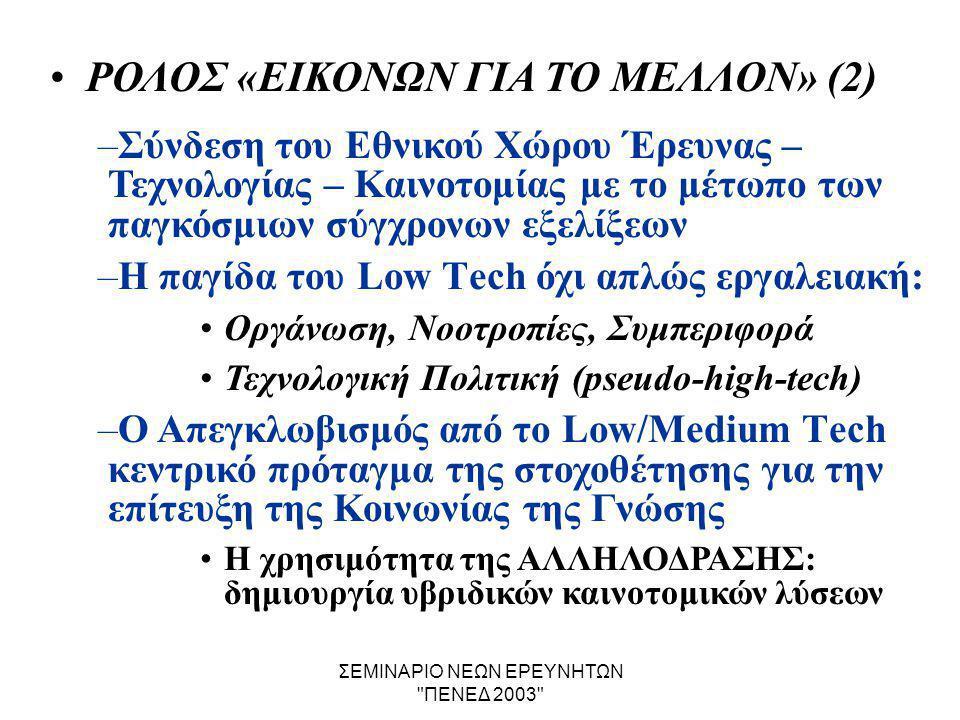 ΣΕΜΙΝΑΡΙΟ ΝΕΩΝ ΕΡΕΥΝΗΤΩΝ ΠΕΝΕΔ 2003 •ΡΟΛΟΣ «ΕΙΚΟΝΩΝ ΓΙΑ ΤΟ ΜΕΛΛΟΝ» (2) –Σύνδεση του Εθνικού Χώρου Έρευνας – Τεχνολογίας – Καινοτομίας με το μέτωπο των παγκόσμιων σύγχρονων εξελίξεων –Η παγίδα του Low Τech όχι απλώς εργαλειακή: •Οργάνωση, Νοοτροπίες, Συμπεριφορά •Τεχνολογική Πολιτική (pseudo-high-tech) –Ο Απεγκλωβισμός από το Low/Medium Τech κεντρικό πρόταγμα της στοχοθέτησης για την επίτευξη της Κοινωνίας της Γνώσης •Η χρησιμότητα της ΑΛΛΗΛΟΔΡΑΣΗΣ: δημιουργία υβριδικών καινοτομικών λύσεων