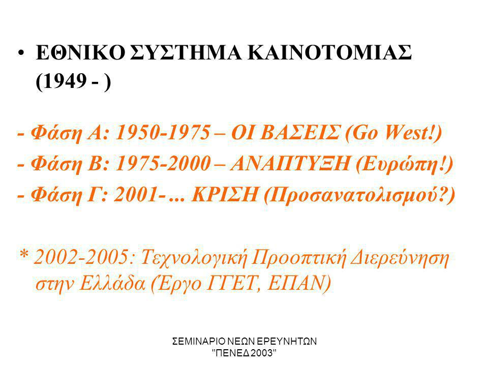 ΣΕΜΙΝΑΡΙΟ ΝΕΩΝ ΕΡΕΥΝΗΤΩΝ ΠΕΝΕΔ 2003 •ΕΘΝΙΚΟ ΣΥΣΤΗΜΑ ΚΑΙΝΟΤΟΜΙΑΣ (1949 - ) - Φάση Α: 1950-1975 – ΟΙ ΒΑΣΕΙΣ (Go West!) - Φάση Β: 1975-2000 – ΑΝΑΠΤΥΞΗ (Ευρώπη!) - Φάση Γ: 2001-...