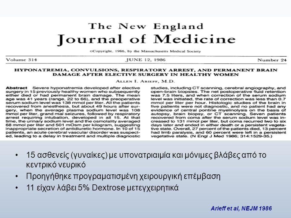 •15 ασθενείς (γυναίκες) με υπονατριαιμία και μόνιμες βλάβες από το κεντρικό νευρικό •Προηγήθηκε προγραματισμένη χειρουργική επέμβαση •11 είχαν λάβει 5