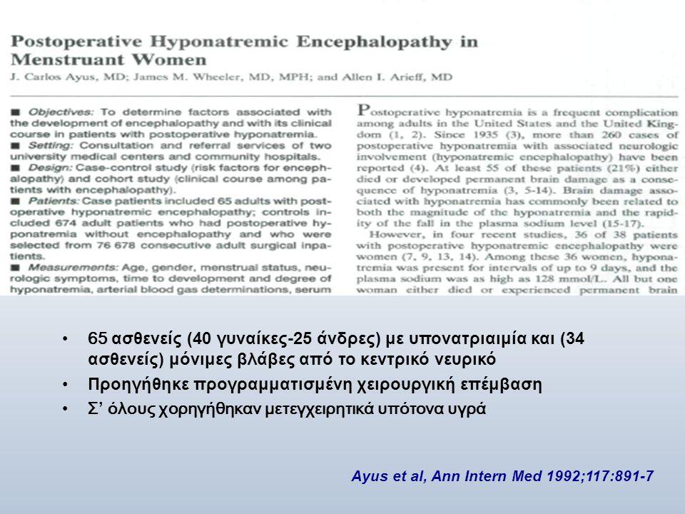 •65 ασθενείς (40 γυναίκες-25 άνδρες) με υπονατριαιμία και (34 ασθενείς) μόνιμες βλάβες από το κεντρικό νευρικό •Προηγήθηκε προγραμματισμένη χειρουργικ
