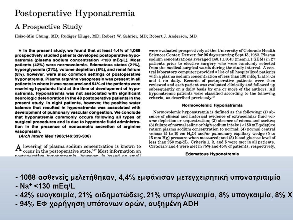 - 1068 ασθενείς μελετήθηκαν, 4,4% εμφάνισαν μετεγχειρητική υπονατριαιμία - Na + <130 mEq/L - 42% ευογκαιμία, 21% οιδηματώδεις, 21% υπεργλυκαιμία, 8% υ