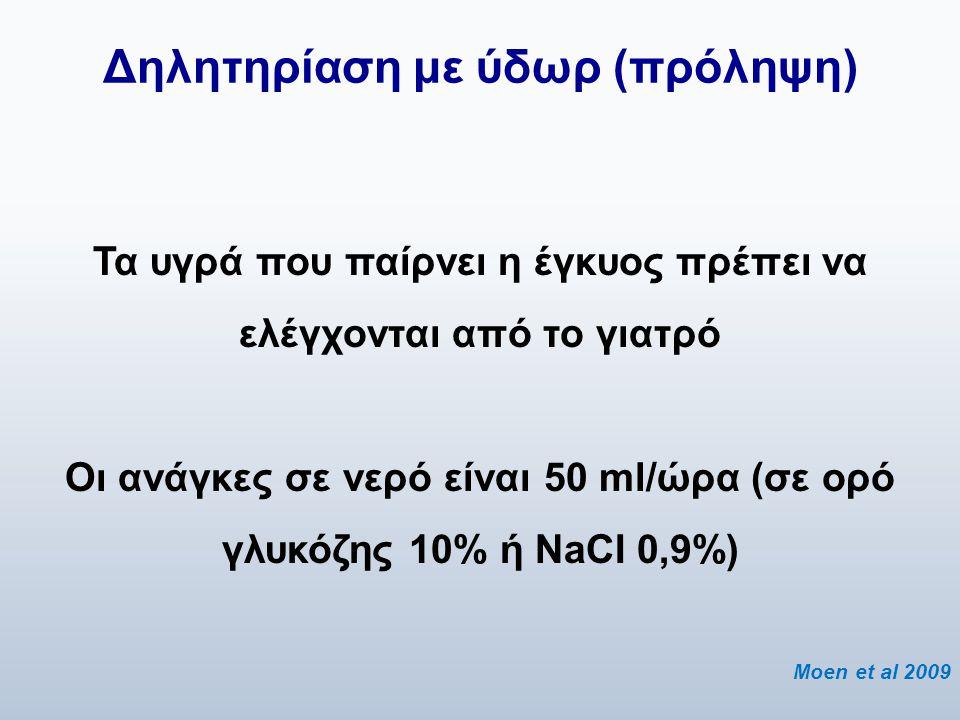 Δηλητηρίαση με ύδωρ (πρόληψη) Τα υγρά που παίρνει η έγκυος πρέπει να ελέγχονται από το γιατρό Οι ανάγκες σε νερό είναι 50 ml/ώρα (σε ορό γλυκόζης 10%