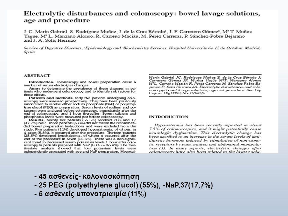 - 45 ασθενείς- κολονοσκόπηση - 25 PEG (polyethylene glucol) (55%), -NaP,37(17,7%) - 5 ασθενείς υπονατριαιμία (11%)