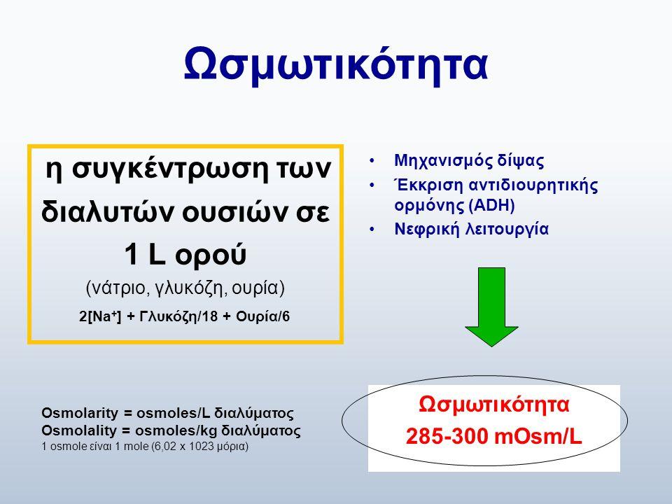 Ωσμωτικότητα η συγκέντρωση των διαλυτών ουσιών σε 1 L ορού (νάτριο, γλυκόζη, ουρία) 2[Na + ] + Γλυκόζη/18 + Ουρία/6 •Μηχανισμός δίψας •Έκκριση αντιδιο