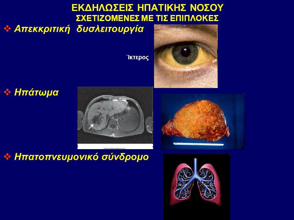 ΕΚΔΗΛΩΣΕΙΣ ΗΠΑΤΙΚΗΣ ΝΟΣΟΥ ΣΧΕΤΙΖΟΜΕΝΕΣ ΜΕ ΤΙΣ ΕΠΙΠΛΟΚΕΣ  Απεκκριτική δυσλειτουργία  Ηπάτωμα  Ηπατοπνευμονικό σύνδρομο Ίκτερος