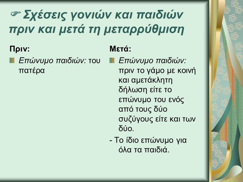  Σχέσεις γονιών και παιδιών πριν και μετά τη μεταρρύθμιση Πριν: Επώνυμο παιδιών: του πατέρα Μετά: Επώνυμο παιδιών: πριν το γάμο με κοινή και αμετάκλητη δήλωση είτε το επώνυμο του ενός από τους δύο συζύγους είτε και των δύο.