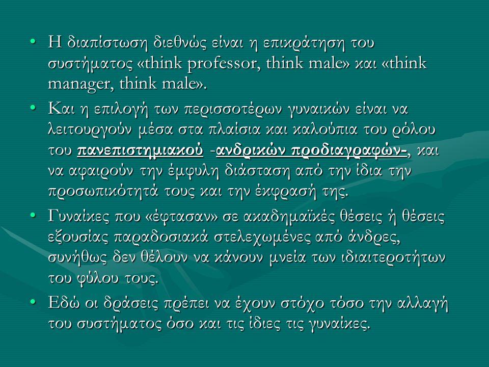 •Η διαπίστωση διεθνώς είναι η επικράτηση του συστήματος «think professor, think male» και «think manager, think male».