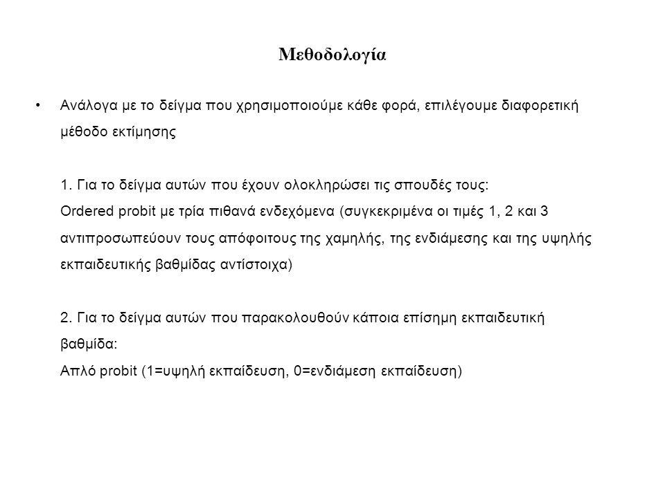 Μεθοδολογία •Ανάλογα με το δείγμα που χρησιμοποιούμε κάθε φορά, επιλέγουμε διαφορετική μέθοδο εκτίμησης 1.