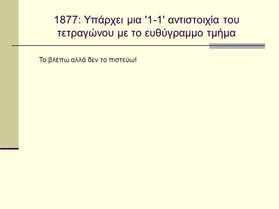 1877: Υπάρχει μια '1-1' αντιστοιχία του τετραγώνου με το ευθύγραμμο τμήμα Το βλέπω αλλά δεν το πιστεύω!
