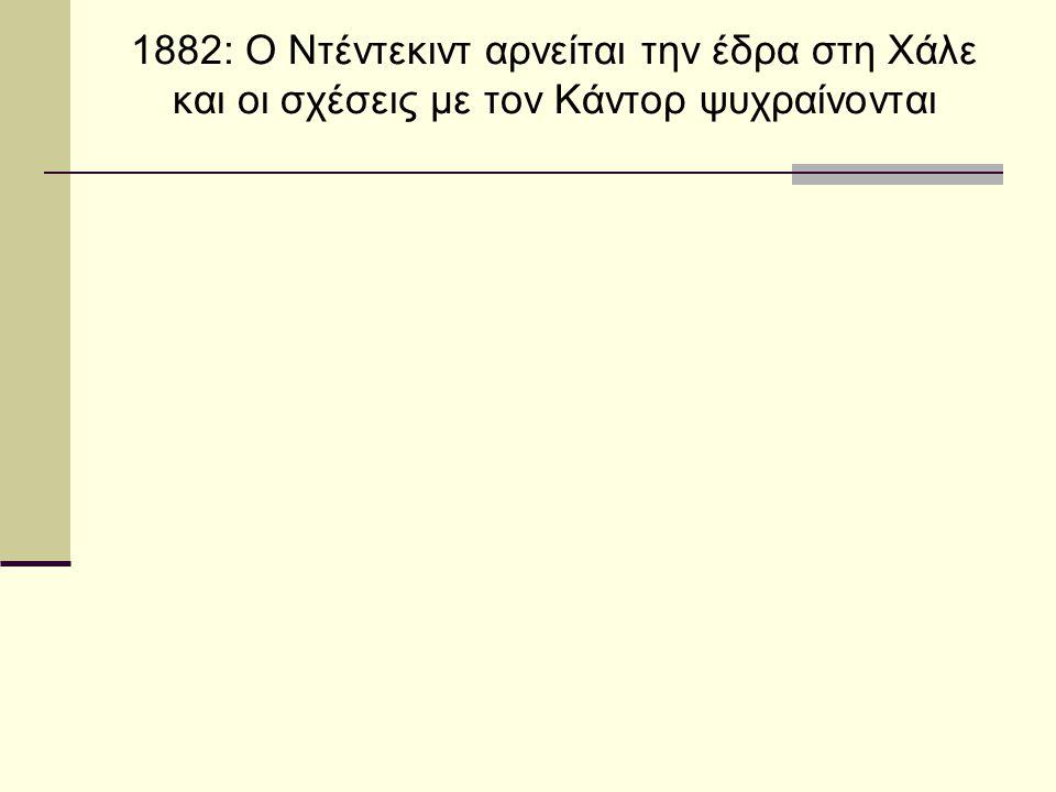 1882: Ο Ντέντεκιντ αρνείται την έδρα στη Χάλε και οι σχέσεις με τον Κάντορ ψυχραίνονται