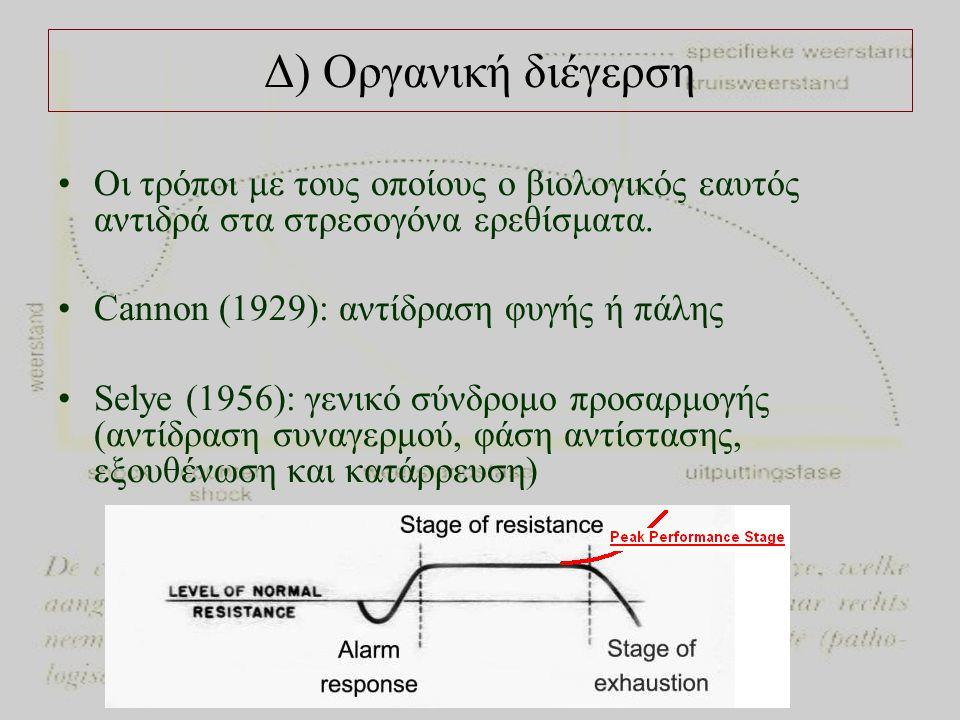 Δ) Οργανική διέγερση •Οι τρόποι με τους οποίους ο βιολογικός εαυτός αντιδρά στα στρεσογόνα ερεθίσματα.