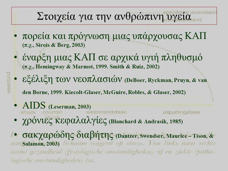 Στοιχεία για την ανθρώπινη υγεία •πορεία και πρόγνωση μιας υπάρχουσας ΚΑΠ (π.χ., Sirois & Berg, 2003) •έναρξη μιας ΚΑΠ σε αρχικά υγιή πληθυσμό (π.χ., Hemingway & Marmot, 1999.
