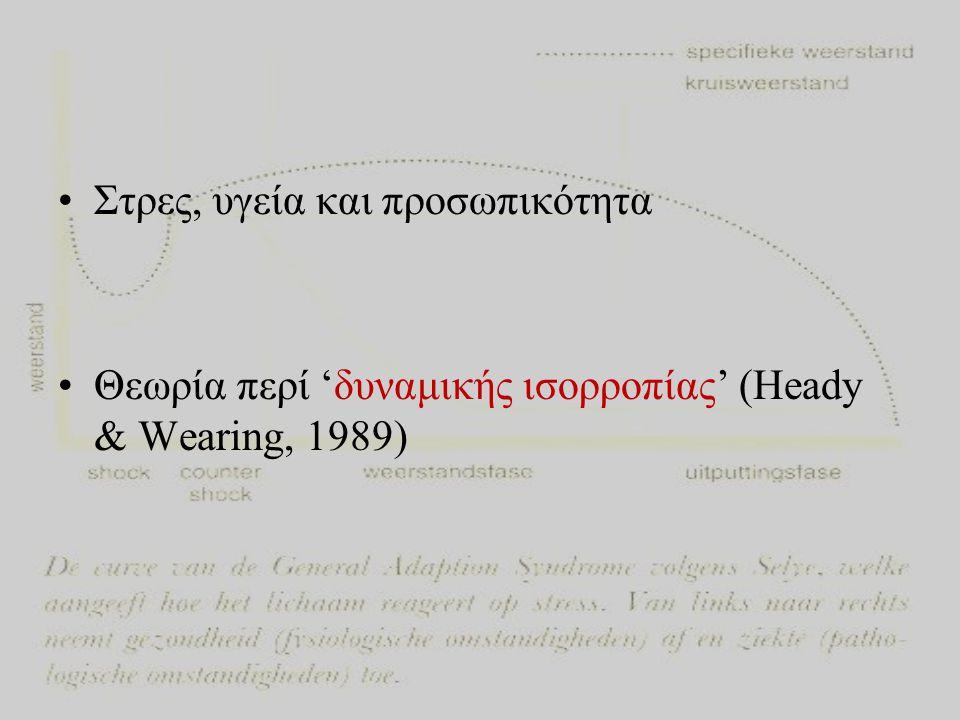 •Στρες, υγεία και προσωπικότητα •Θεωρία περί 'δυναμικής ισορροπίας' (Heady & Wearing, 1989)