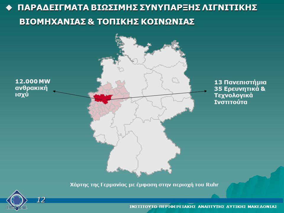 Χάρτης της Γερμανίας με έμφαση στην περιοχή του Ruhr 12.000 MW ανθρακική ισχύ 13 Πανεπιστήμια 35 Ερευνητικά & Τεχνολογικά Ινστιτούτα  ΠΑΡΑΔΕΙΓΜΑΤΑ ΒΙΩΣΙΜΗΣ ΣΥΝΥΠΑΡΞΗΣ ΛΙΓΝΙΤΙΚΗΣ  ΠΑΡΑΔΕΙΓΜΑΤΑ ΒΙΩΣΙΜΗΣ ΣΥΝΥΠΑΡΞΗΣ ΛΙΓΝΙΤΙΚΗΣ ΒΙΟΜΗΧΑΝΙΑΣ & ΤΟΠΙΚΗΣ ΚΟΙΝΩΝΙΑΣ ΒΙΟΜΗΧΑΝΙΑΣ & ΤΟΠΙΚΗΣ ΚΟΙΝΩΝΙΑΣ ΙΝΣΤΙΤΟΥΤΟ ΠΕΡΙΦΕΡΕΙΑΚΗΣ ΑΝΑΠΤΥΞΗΣ ΔΥΤΙΚΗΣ ΜΑΚΕΔΟΝΙΑΣ 12121212