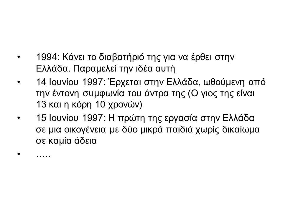 •1994: Κάνει το διαβατήριό της για να έρθει στην Ελλάδα. Παραμελεί την ιδέα αυτή •14 Ιουνίου 1997: Έρχεται στην Ελλάδα, ωθούμενη από την έντονη συμφων