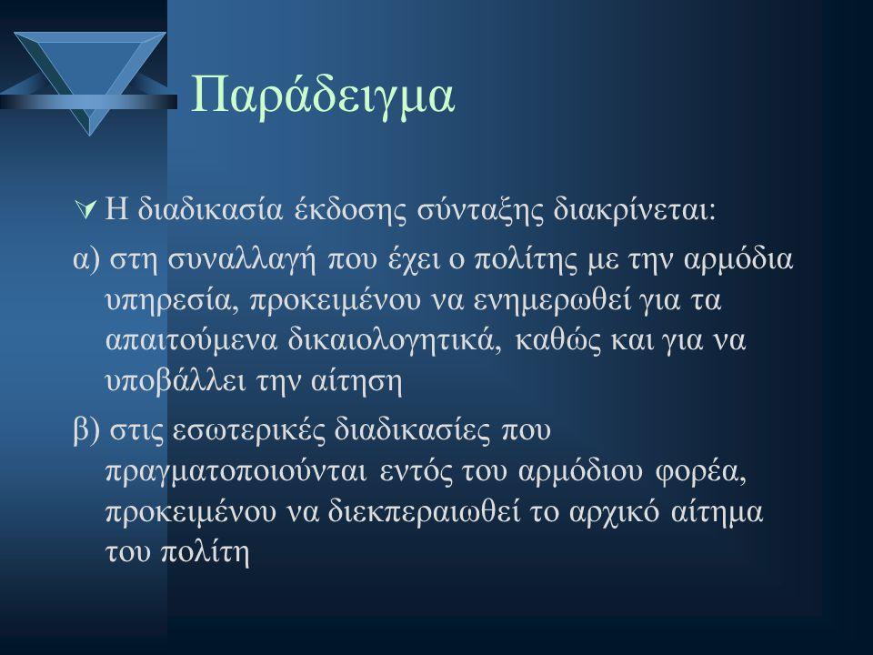 Παράδειγμα  Η διαδικασία έκδοσης σύνταξης διακρίνεται: α) στη συναλλαγή που έχει ο πολίτης με την αρμόδια υπηρεσία, προκειμένου να ενημερωθεί για τα