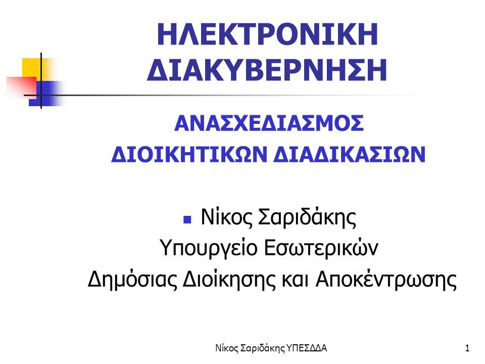 Νίκος Σαριδάκης ΥΠΕΣΔΔΑ2 ΗΛΕΚΤΡΟΝΙΚΗ ΔΙΑΚΥΒΕΡΝΗΣΗ ΣΤΗΝ ΕΕ ΗΛΕΚΤΡΟΝΙΚΗ ΔΙΑΚΥΒΕΡΝΗΣΗ ON LINE Υπηρεσίες Δημοκρατικές διαδικασίες Υποστήριξη Δημόσιων πολιτικών  Ανασχεδιασμός διαδικασιών  Εκπαίδευση προσωπικού  Νομοθετικές αλλαγές  Νέα μοντέλα διοίκησης ■ ICT, INTERNET ■ΔΙΑΛΕΙΤΟΥΡΓΙΚΟΤΗΤΑ ■ΑΥΘΕΝΤΙΚΟΠΟΙΗΣΗ ΔΗΜΟΣΙΑΔΙΟΙΚΣΗΔΗΜΟΣΙΑΔΙΟΙΚΣΗ ΠΟΛΙΤΕΣΠΟΛΙΤΕΣ ΕΠΙΧΕιΡΗΣΕΙΣΕΠΙΧΕιΡΗΣΕΙΣ