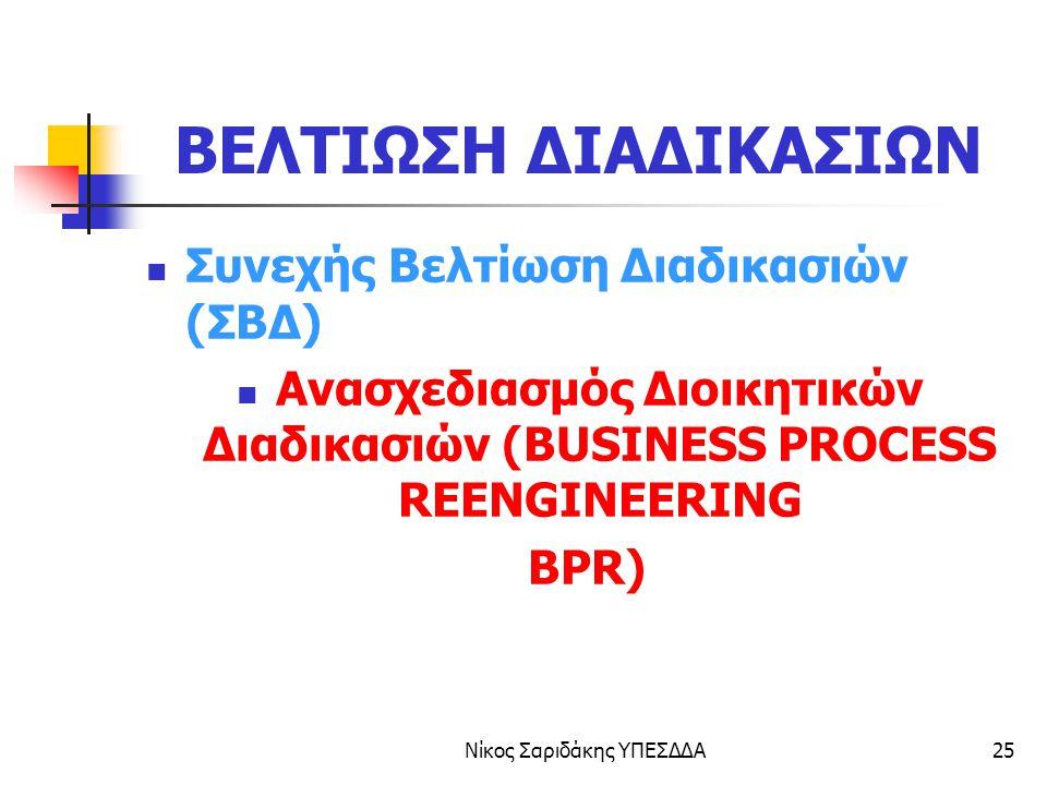 Νίκος Σαριδάκης ΥΠΕΣΔΔΑ26 Ανασχεδιασμός Διαδικασιών (BPR)  Ανασχεδιασμός διαδικασιών είναι μια ΘΕΜΕΛΙΑΚΗ επανεξέταση και ΡΙΖΙΚΗ επανασχεδίαση των διοικητικών διαδικασιών με σκοπό να επιτευχθούν ΕΞΑΙΡΕΤΙΚΕΣ βελτιώσεις στην εξυπηρέτηση, την ποιότητα, το χρόνο και το κόστος.