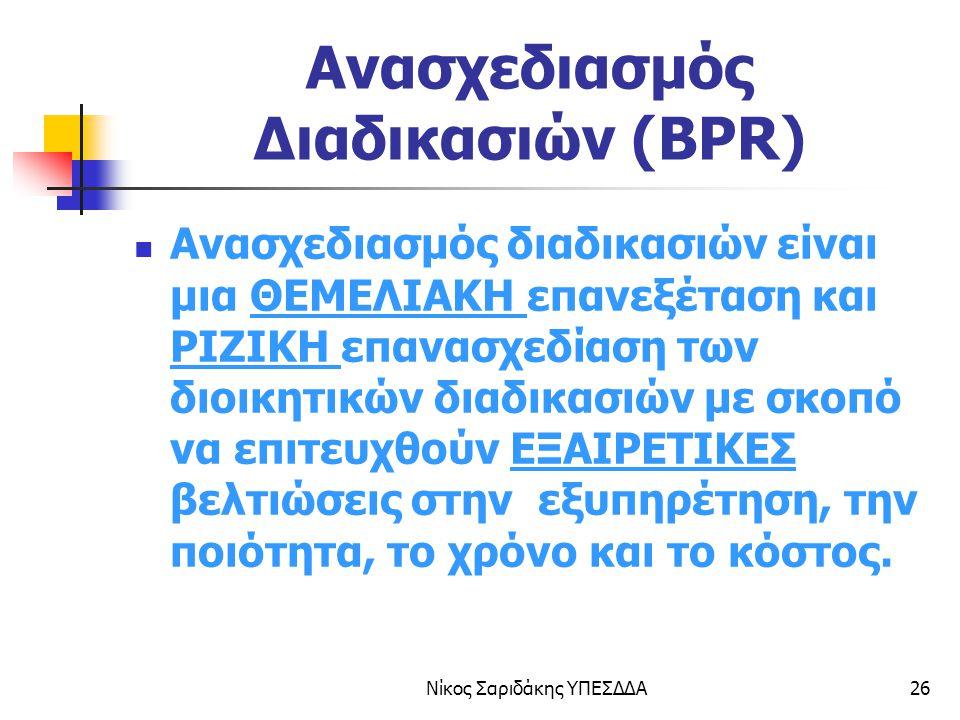 Νίκος Σαριδάκης ΥΠΕΣΔΔΑ27 ΒΕΛΤΙΩΣΗ ΔΙΑΔΙΚΑΣΙΩΝ ΧΡΟΝΟΣ ΣΒΔ (BPI) BPR ΒΕΛΤΙΩΣΗΒΕΛΤΙΩΣΗ