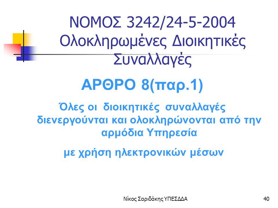 Νίκος Σαριδάκης ΥΠΕΣΔΔΑ41 ΝΟΜΟΣ 3242/24-5-2004 Ολοκληρωμένες Διοικητικές Συναλλαγές ΑΡΘΡΟ 8 (παρ.