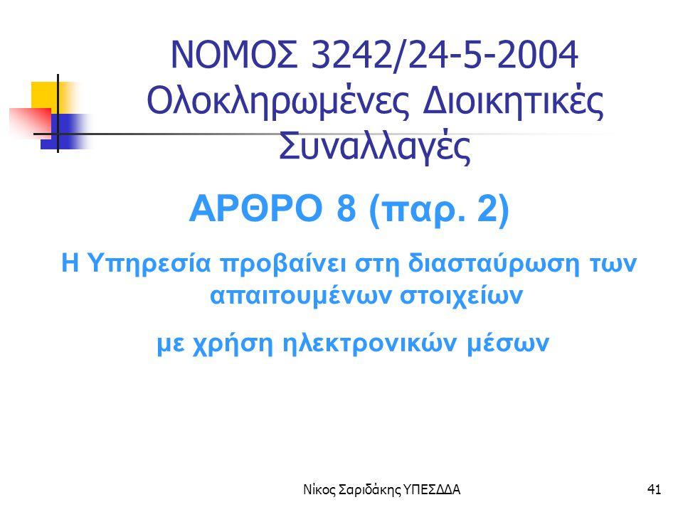 Νίκος Σαριδάκης ΥΠΕΣΔΔΑ42 ΝΟΜΟΣ 3200/2003 ΑΡΘΡΟ 25 Όλες οι Δημόσιες Υπηρεσίες θα παρέχουν επεξεργασμένες πληροφορίες ( ΝΑΙ-ΟΧΙ ) σε άλλες Δημόσιες Υπηρεσίες που επεξεργάζονται αιτήματα διατμηματικού χαρακτήρα.