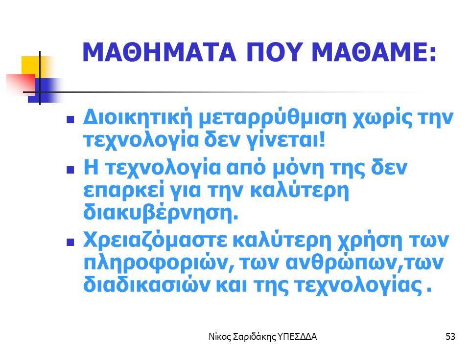 Νίκος Σαριδάκης ΥΠΕΣΔΔΑ54 Ευχαριστώ για την προσοχή σας