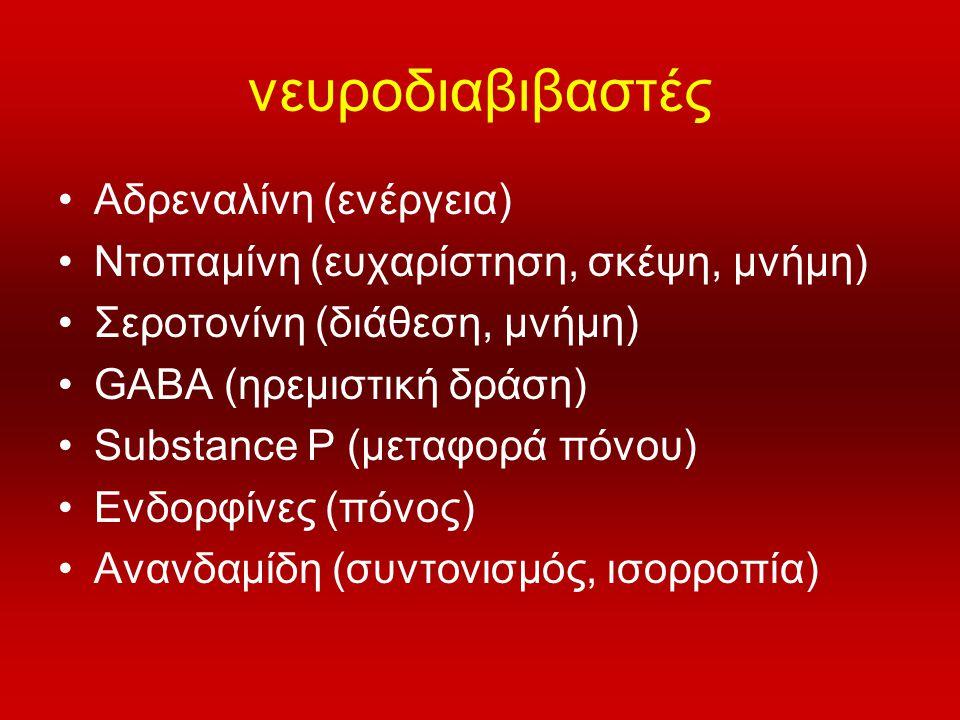 νευροδιαβιβαστές •Αδρεναλίνη (ενέργεια) •Ντοπαμίνη (ευχαρίστηση, σκέψη, μνήμη) •Σεροτονίνη (διάθεση, μνήμη) •GABA (ηρεμιστική δράση) •Substance P (μετ