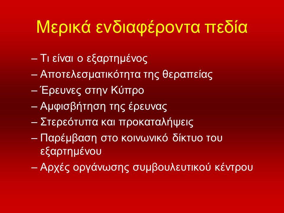 Μερικά ενδιαφέροντα πεδία –Τι είναι ο εξαρτημένος –Αποτελεσματικότητα της θεραπείας –Έρευνες στην Κύπρο –Αμφισβήτηση της έρευνας –Στερεότυπα και προκα