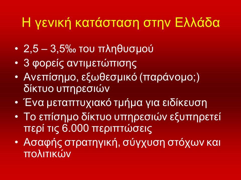 Η γενική κατάσταση στην Ελλάδα •2,5 – 3,5‰ του πληθυσμού •3 φορείς αντιμετώπισης •Ανεπίσημο, εξωθεσμικό (παράνομο;) δίκτυο υπηρεσιών •Ένα μεταπτυχιακό