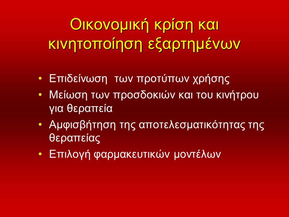 Οικονομική κρίση και κινητοποίηση εξαρτημένων •Επιδείνωση των προτύπων χρήσης •Μείωση των προσδοκιών και του κινήτρου για θεραπεία •Αμφισβήτηση της απ