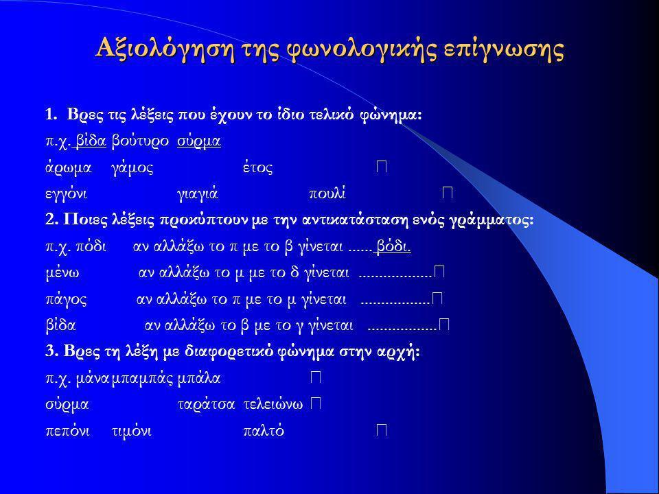 Αξιολόγηση της φωνολογικής επίγνωσης 1. Βρες τις λέξεις που έχουν το ίδιο τελικό φώνημα: π.χ. βίδαβούτυροσύρμα άρωμαγάμοςέτος εγγόνιγιαγιάπουλί 2. Ποι