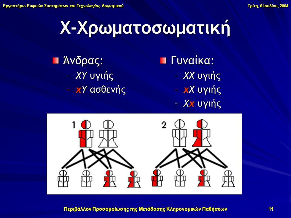 Εργαστήριο Ευφυών Συστημάτων και Τεχνολογίας Λογισμικού Τρίτη, 6 Ιουλίου, 2004 Περιβάλλον Προσομοίωσης της Μετάδοσης Κληρονομικών Παθήσεων 11 Χ-Χρωματοσωματική Άνδρας: –ΧΥ υγιής –χΥ ασθενής Γυναίκα: –ΧΧ υγιής –χΧ υγιής –Χχ υγιής