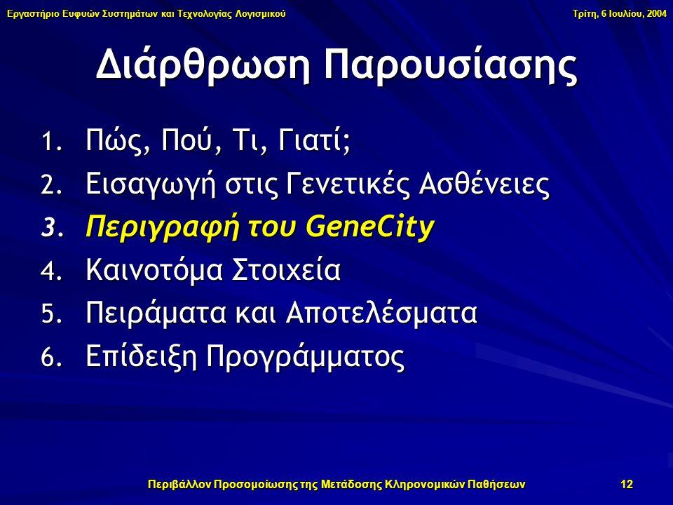 Εργαστήριο Ευφυών Συστημάτων και Τεχνολογίας Λογισμικού Τρίτη, 6 Ιουλίου, 2004 Περιβάλλον Προσομοίωσης της Μετάδοσης Κληρονομικών Παθήσεων 12 1.
