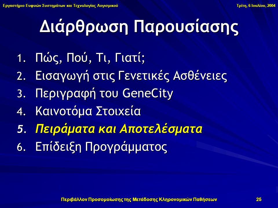 Εργαστήριο Ευφυών Συστημάτων και Τεχνολογίας Λογισμικού Τρίτη, 6 Ιουλίου, 2004 Περιβάλλον Προσομοίωσης της Μετάδοσης Κληρονομικών Παθήσεων 25 1.
