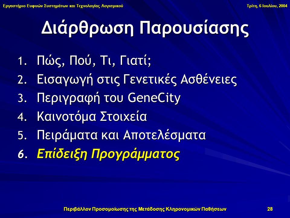 Εργαστήριο Ευφυών Συστημάτων και Τεχνολογίας Λογισμικού Τρίτη, 6 Ιουλίου, 2004 Περιβάλλον Προσομοίωσης της Μετάδοσης Κληρονομικών Παθήσεων 28 1.