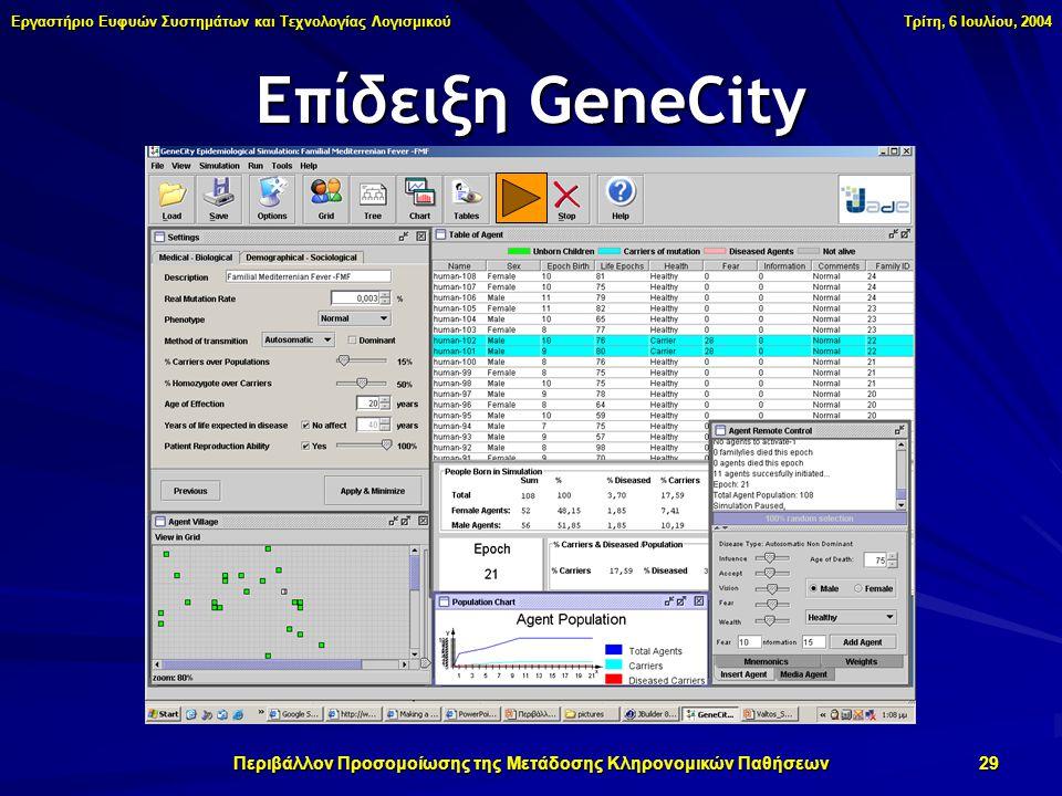 Εργαστήριο Ευφυών Συστημάτων και Τεχνολογίας Λογισμικού Τρίτη, 6 Ιουλίου, 2004 Περιβάλλον Προσομοίωσης της Μετάδοσης Κληρονομικών Παθήσεων 29 Επίδειξη GeneCity
