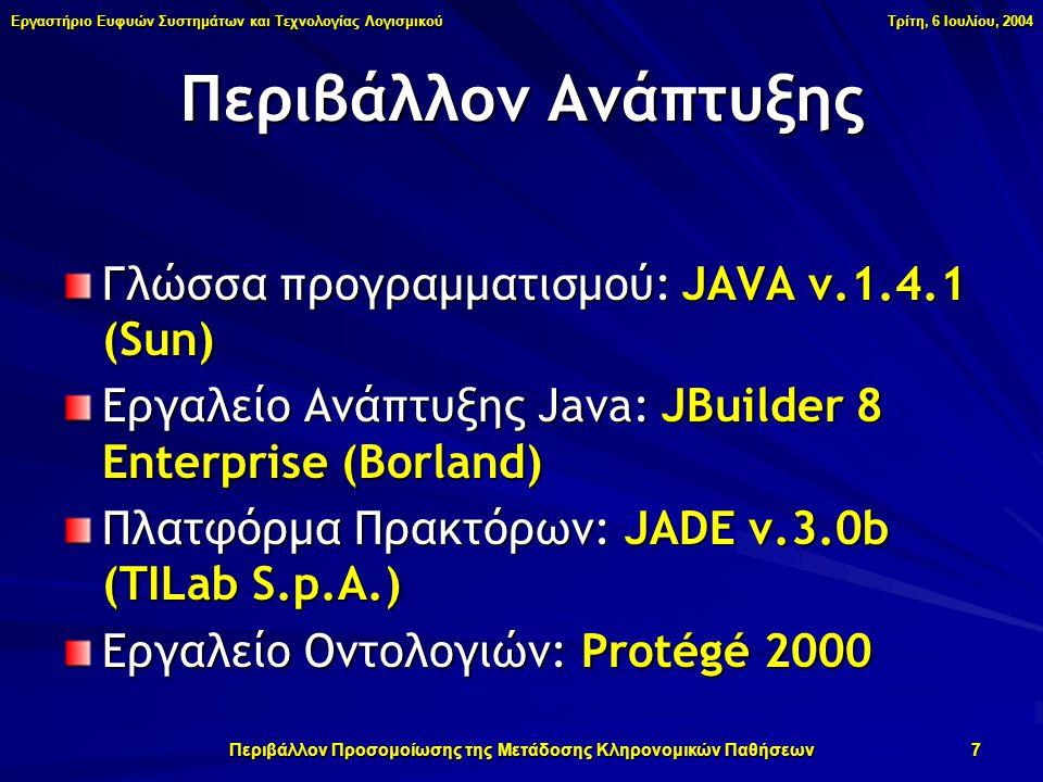 Εργαστήριο Ευφυών Συστημάτων και Τεχνολογίας Λογισμικού Τρίτη, 6 Ιουλίου, 2004 Περιβάλλον Προσομοίωσης της Μετάδοσης Κληρονομικών Παθήσεων 7 Περιβάλλον Ανάπτυξης Γλώσσα προγραμματισμού: JAVA v.1.4.1 (Sun) Εργαλείο Ανάπτυξης Java: JBuilder 8 Enterprise (Borland) Πλατφόρμα Πρακτόρων: JADE v.3.0b (TILab S.p.A.) Εργαλείο Οντολογιών: Protégé 2000