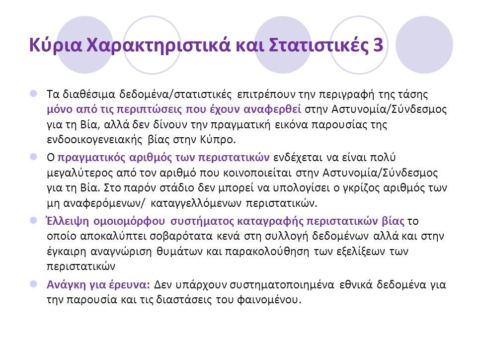 Κύρια Χαρακτηριστικά και Στατιστικές 3  Τα διαθέσιμα δεδομένα/στατιστικές επιτρέπουν την περιγραφή της τάσης μόνο από τις περιπτώσεις που έχουν αναφερθεί στην Αστυνομία/Σύνδεσμος για τη Βία, αλλά δεν δίνουν την πραγματική εικόνα παρουσίας της ενδοοικογενειακής βίας στην Κύπρο.
