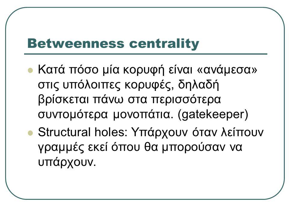 Betweenness centrality  Κατά πόσο μία κορυφή είναι «ανάμεσα» στις υπόλοιπες κορυφές, δηλαδή βρίσκεται πάνω στα περισσότερα συντομότερα μονοπάτια. (ga
