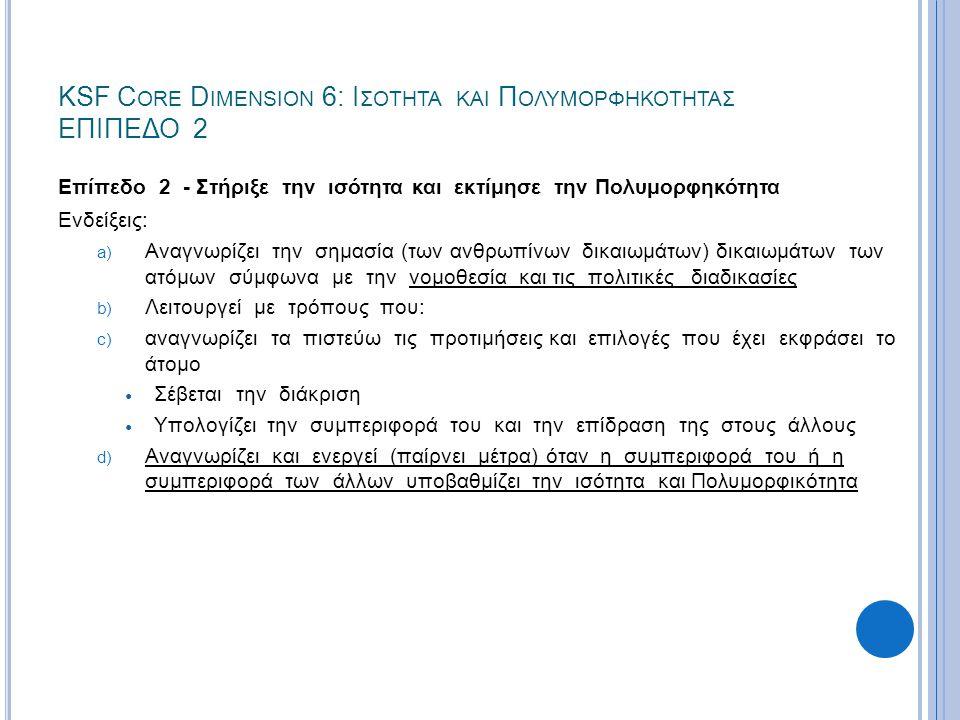 KSF C ORE D IMENSION 6: Ι ΣΟΤΗΤΑ ΚΑΙ Π ΟΛΥΜΟΡΦΗΚΟΤΗΤΑΣ ΕΠΙΠΕΔΟ 2 Επίπεδο 2 - Στήριξε την ισότητα και εκτίμησε την Πολυμορφηκότητα Ενδείξεις: a) Αναγνω