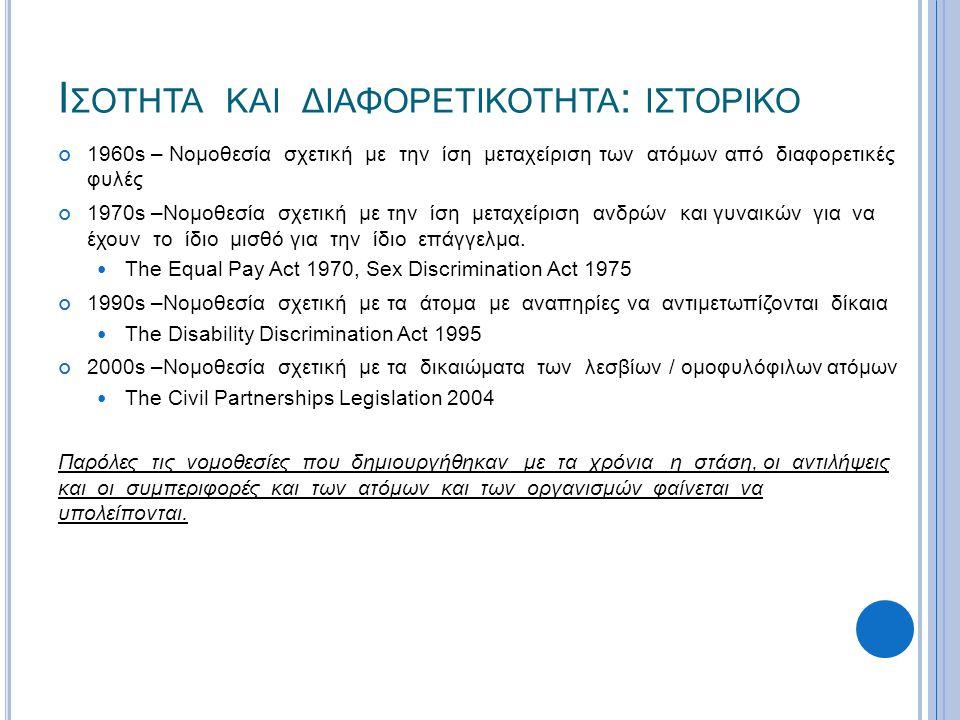 Ι ΣΟΤΗΤΑ ΚΑΙ ΔΙΑΦΟΡΕΤΙΚΟΤΗΤΑ : ΙΣΤΟΡΙΚΟ 1960s – Νομοθεσία σχετική με την ίση μεταχείριση των ατόμων από διαφορετικές φυλές 1970s –Νομοθεσία σχετική με την ίση μεταχείριση ανδρών και γυναικών για να έχουν το ίδιο μισθό για την ίδιο επάγγελμα.